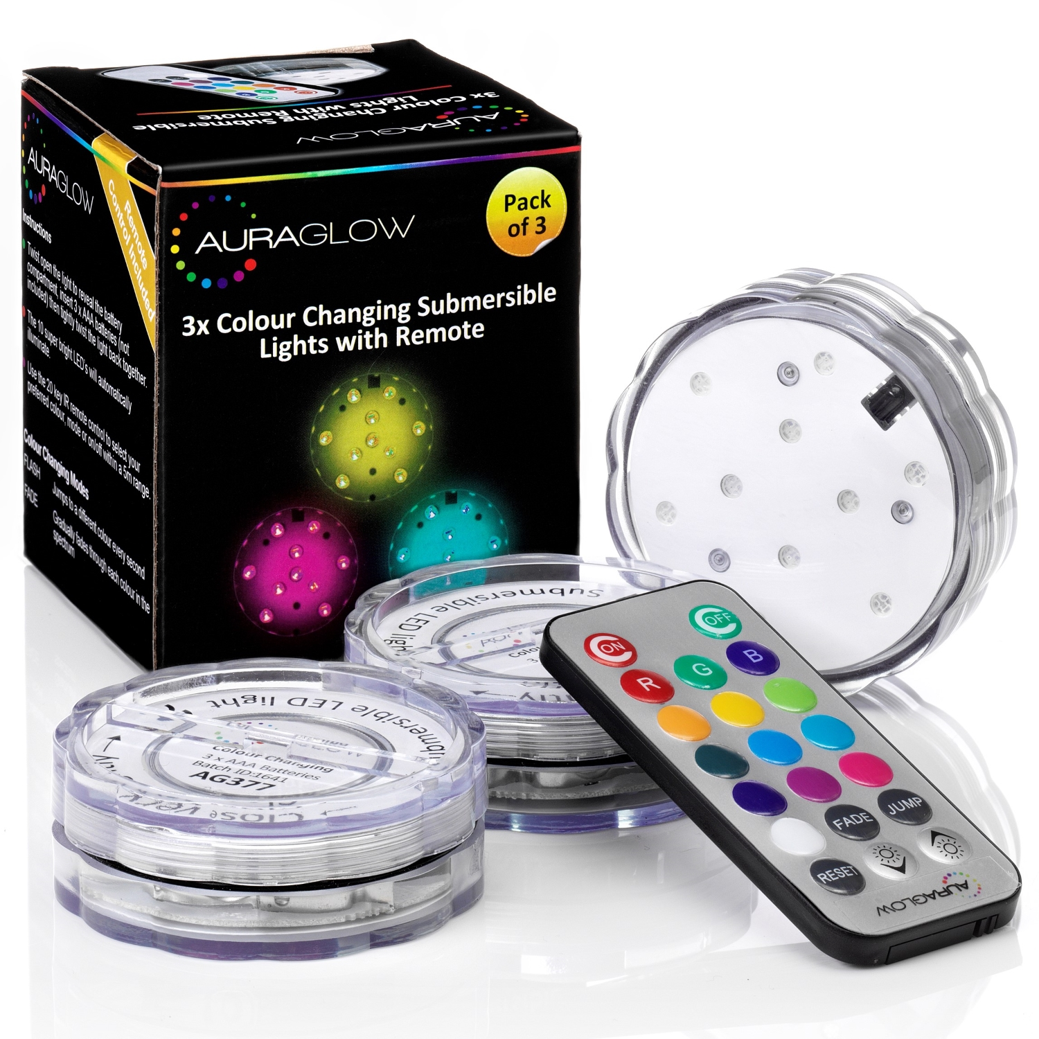 Remote Controlled Aqua Mood Lights 3 Pack Auraglow Led