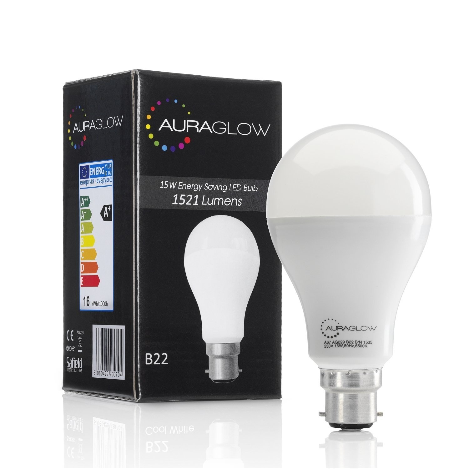Auraglow 15w Led B22 Warm White 100w Eqv Auraglow Led