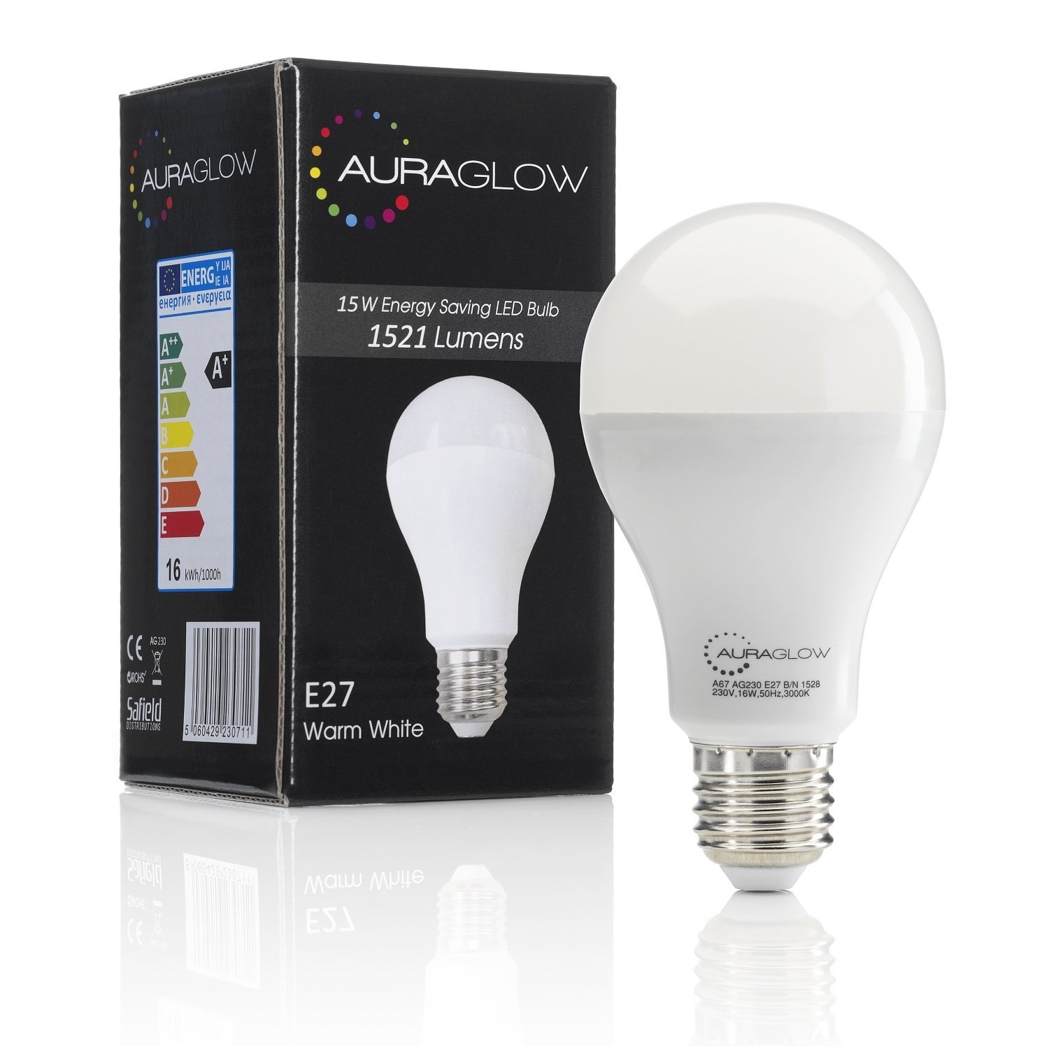 auraglow 15w led e27 screw light bulb warm white 1521 lumens 100w eqv ebay. Black Bedroom Furniture Sets. Home Design Ideas