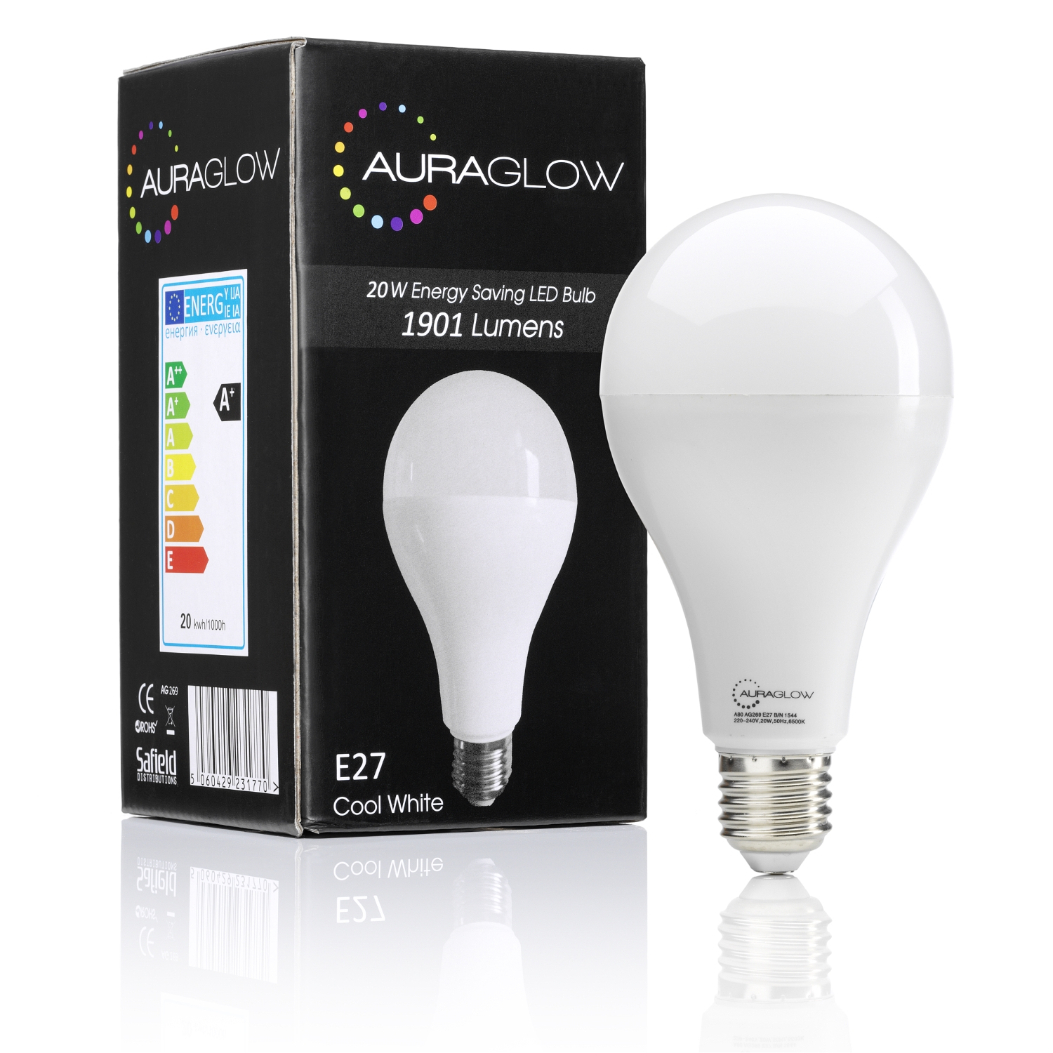 auraglow 20w led e27 screw cool white 120w eqv auraglow led lighting. Black Bedroom Furniture Sets. Home Design Ideas