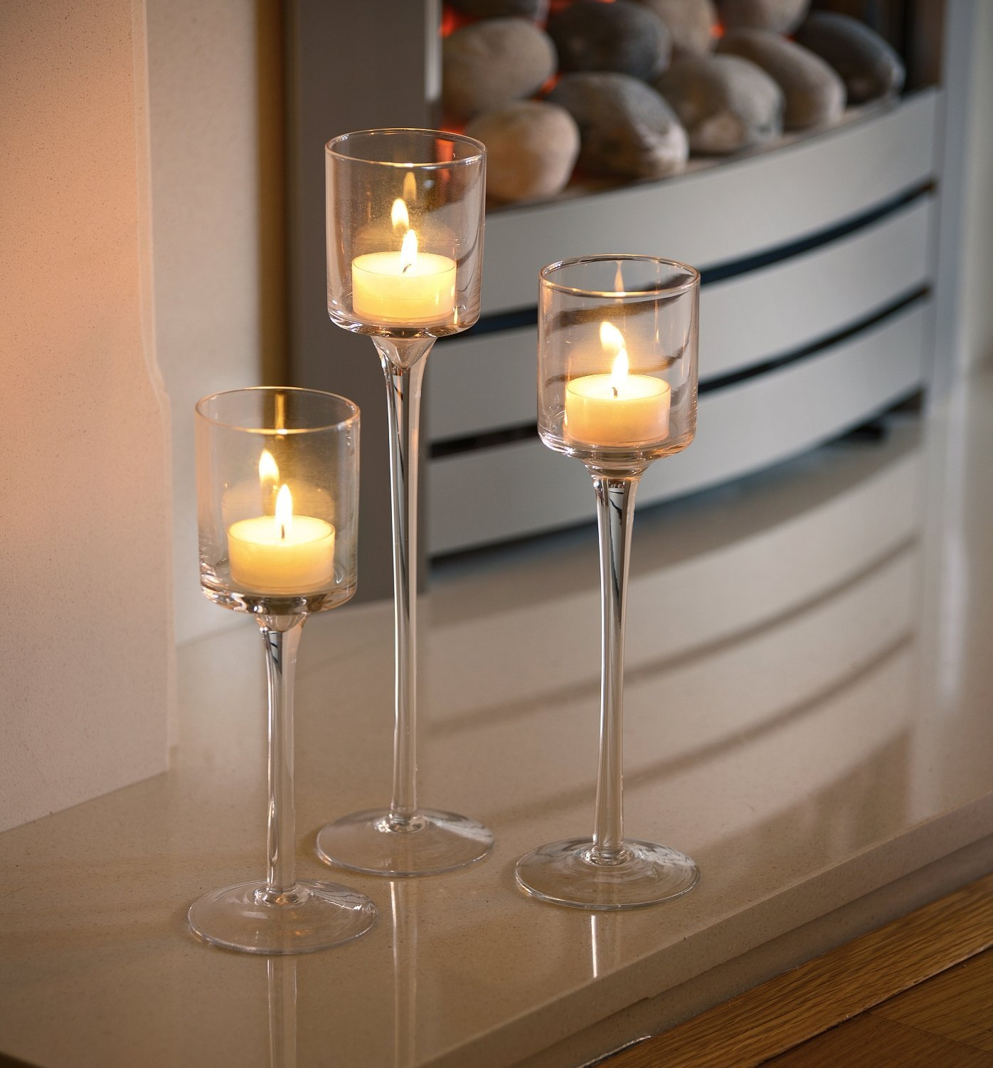 Set Of 3 Tea Light Glass Candle Holders Auraglow Led
