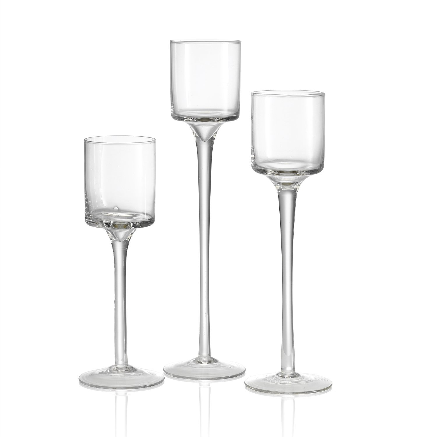 Set Of 3 Elegant Tea Light Glass Candle Holders Wedding
