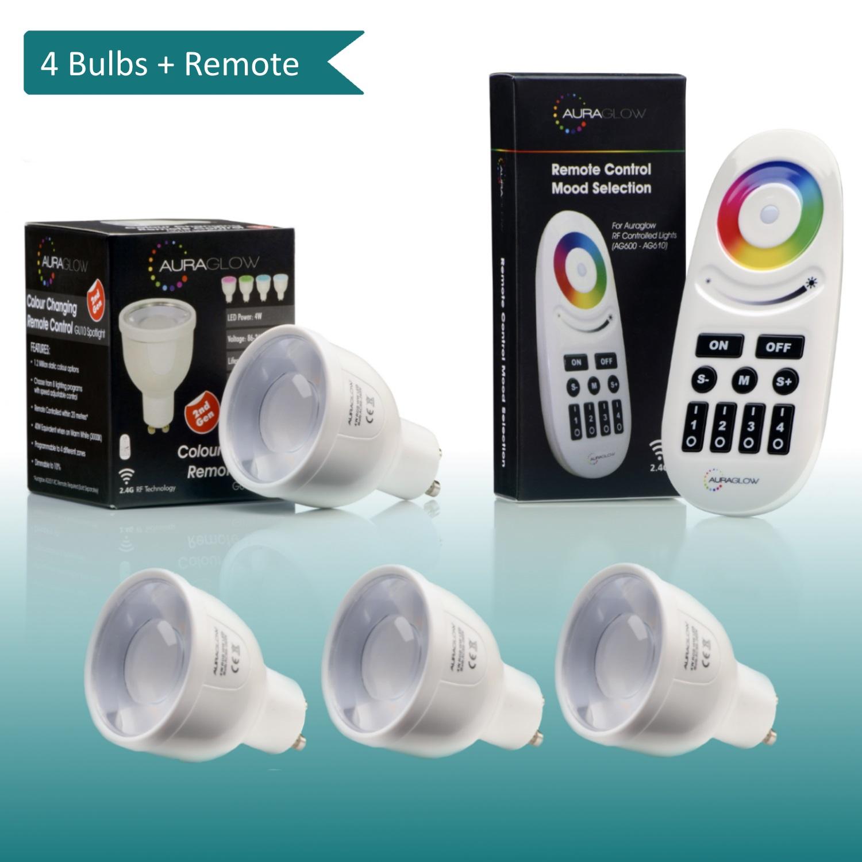 Auraglow 7w Remote Control Colour Changing Led Light Bulb: AURAGLOW 2.4GHZ RF REMOTE CONTROL COLOUR CHANGING RGB GU10