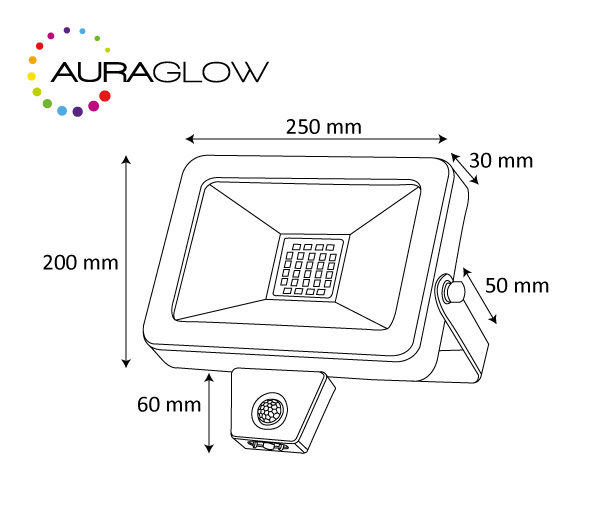 auraglow 50w led motion activated pir sensor outdoor security light