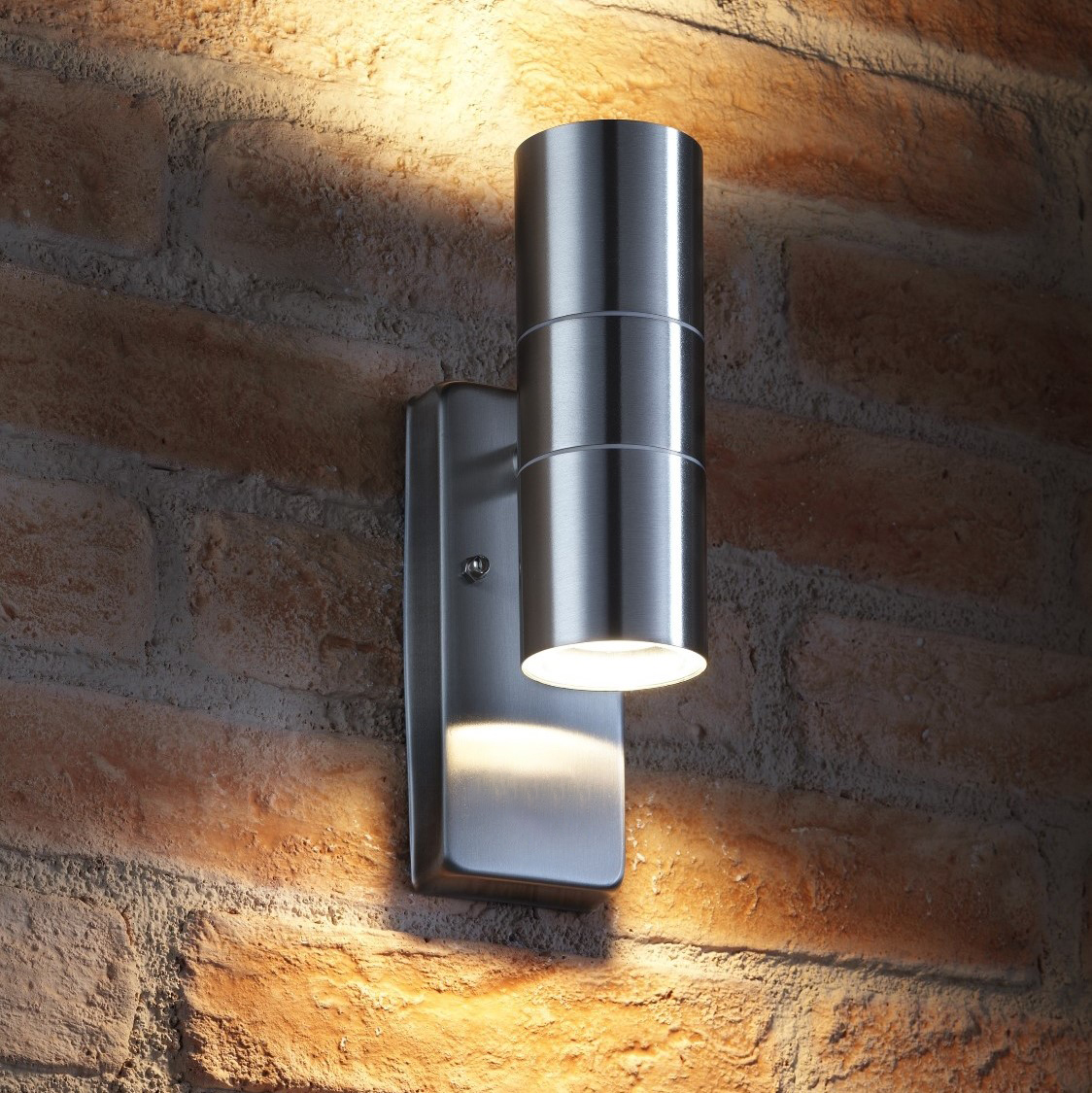 auraglow dusk till dawn sensor up down outdoor wall light avebury stainless steel. Black Bedroom Furniture Sets. Home Design Ideas