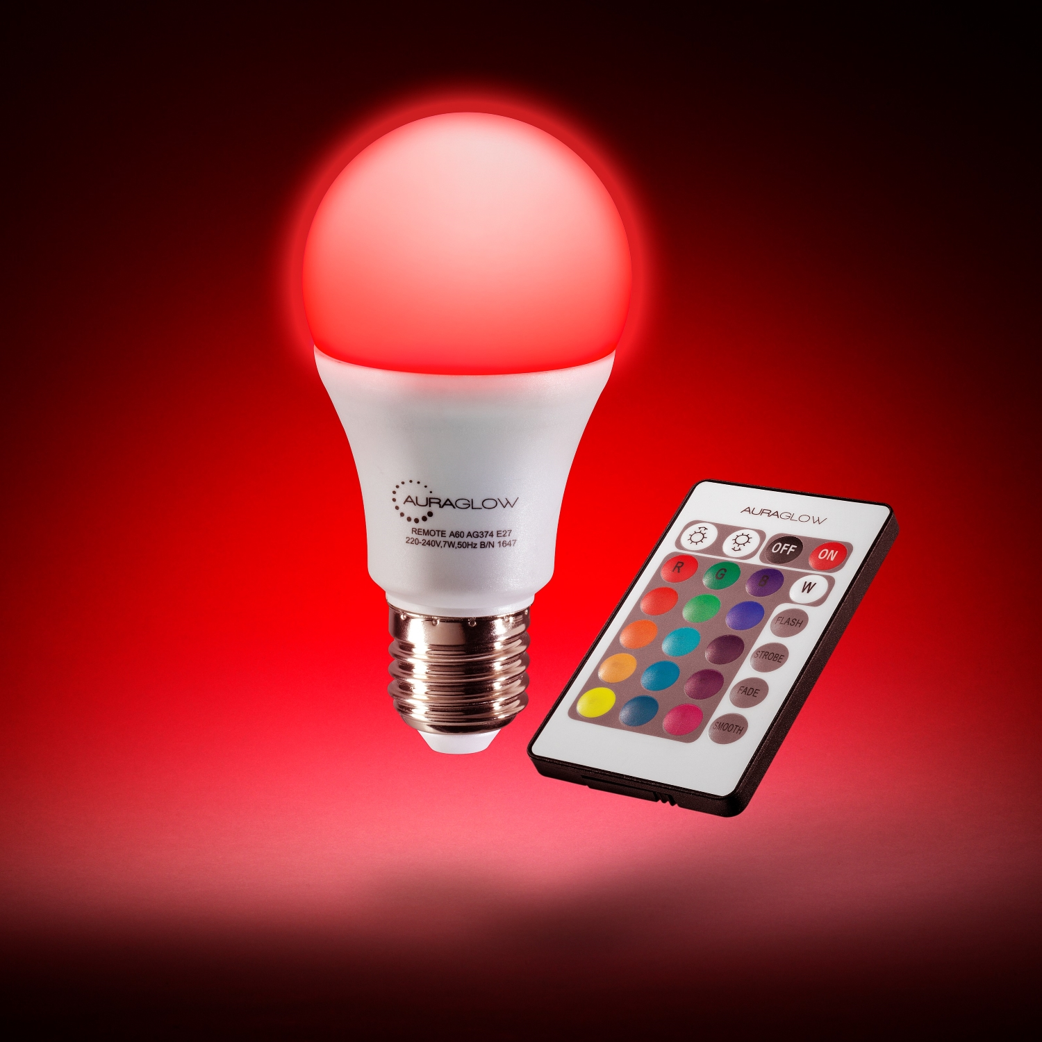 auraglow 7w remote control colour changing led light bulb. Black Bedroom Furniture Sets. Home Design Ideas