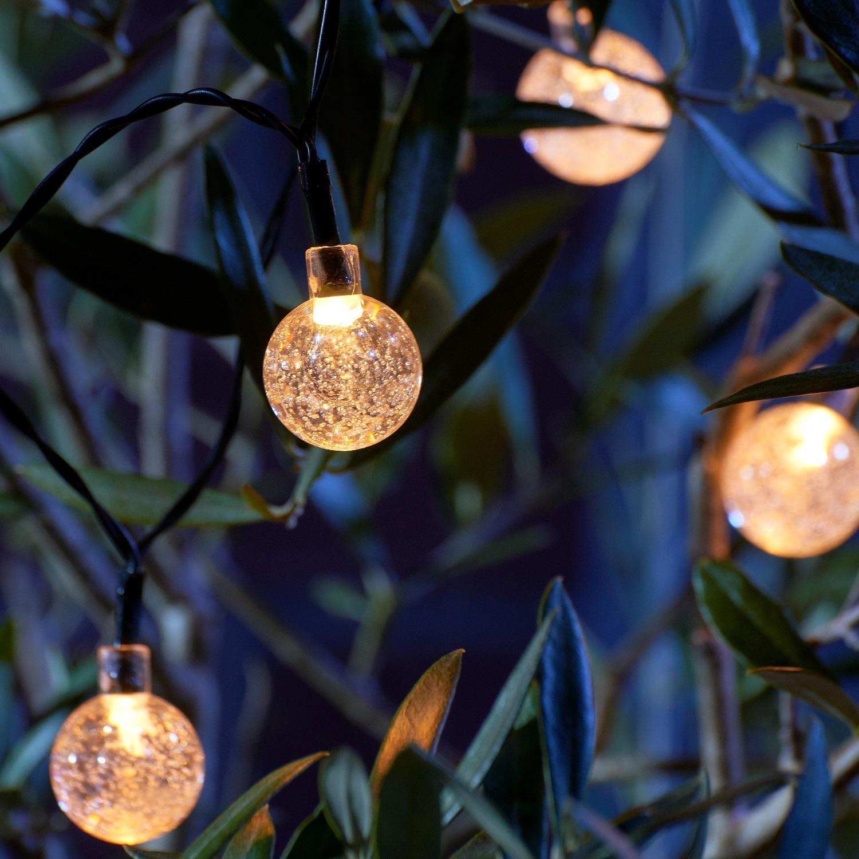Set Of 20 Crystal Ball Led Solar String Lights Auraglow