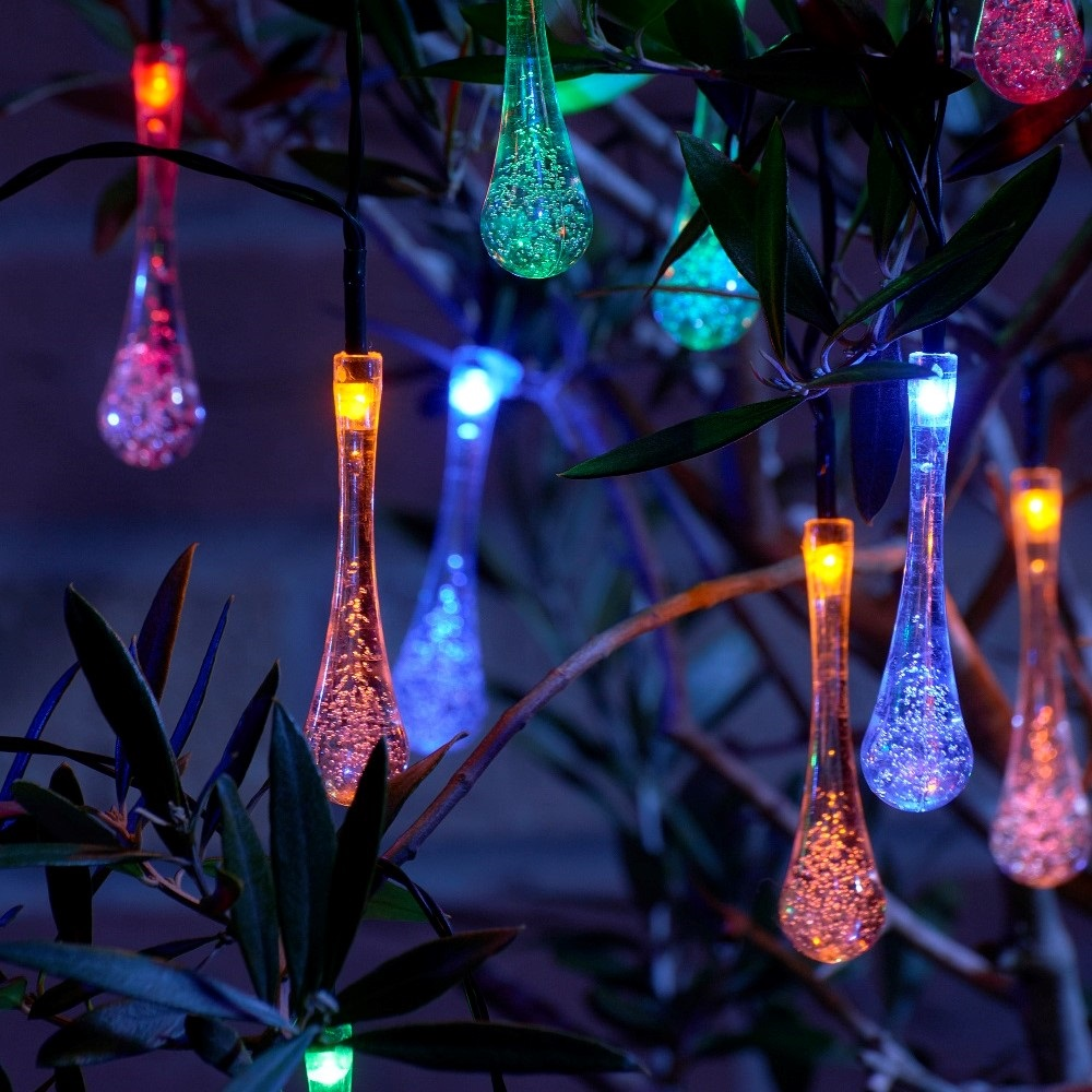 Set Of 20 Crystal Ice Drop Led Solar String Lights