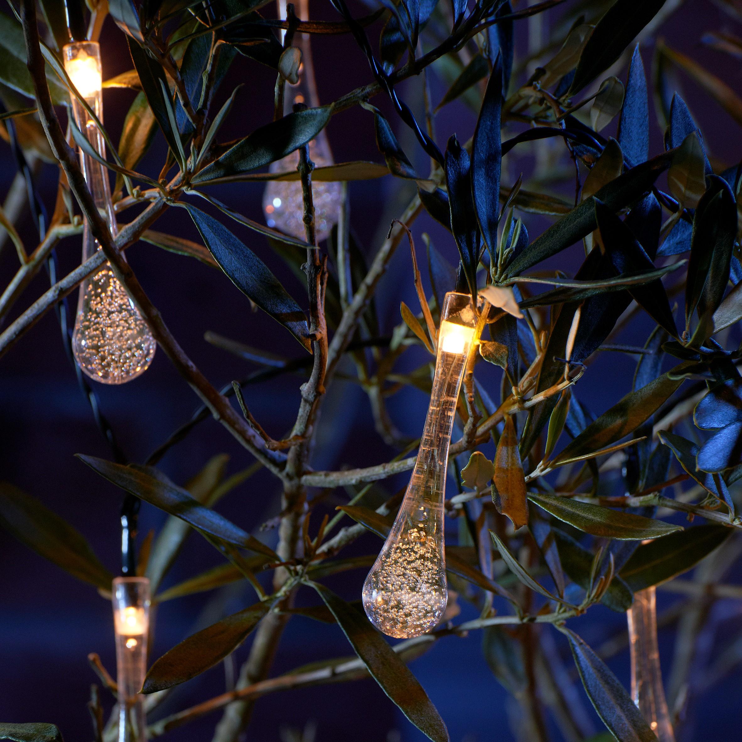 Dollarama Solar String Lights: Auraglow Set Of 20 Crystal Teardrop Garden Outdoor LED