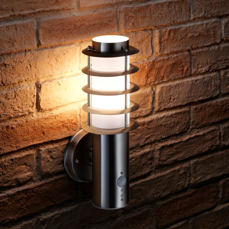Auraglow Brushed Chrome Pir Motion Sensor Wall Light