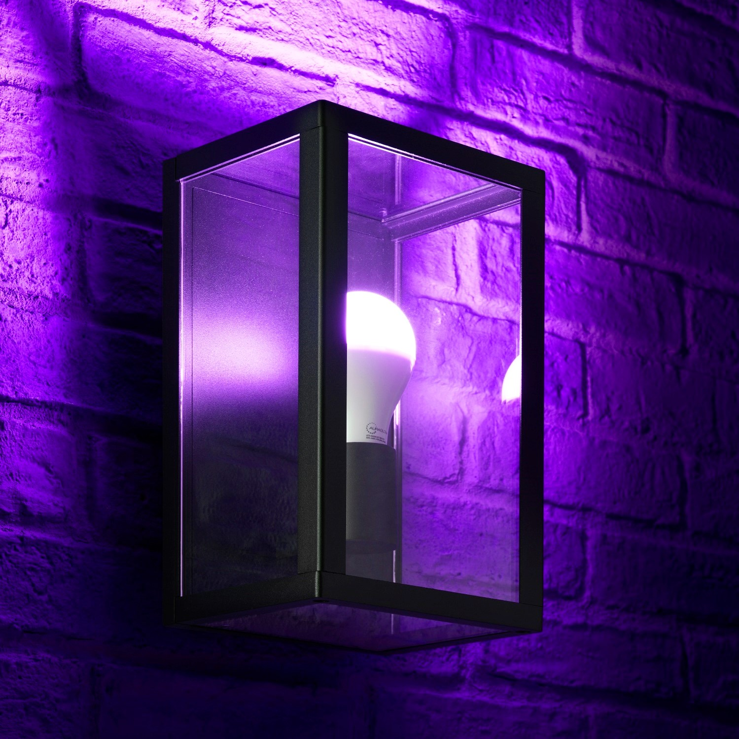 Auraglow Glass Box Wall Light Colour Changing Auraglow