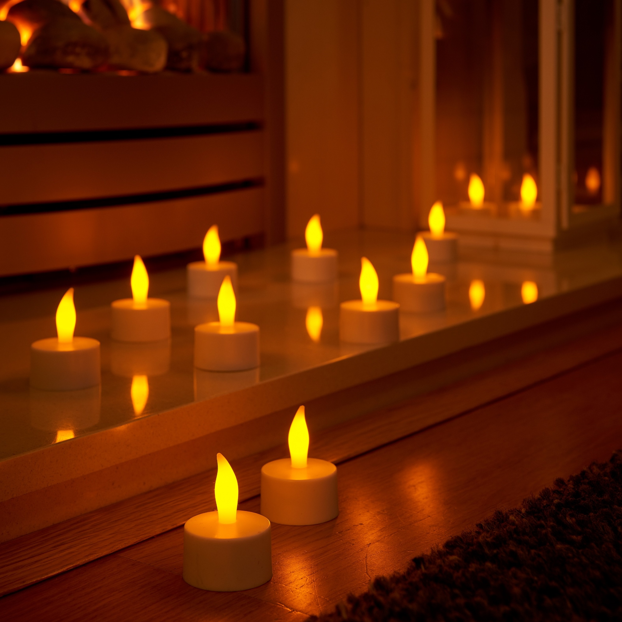 Auraglow Set Of 12 Rechargeable Led Tea Light Candles