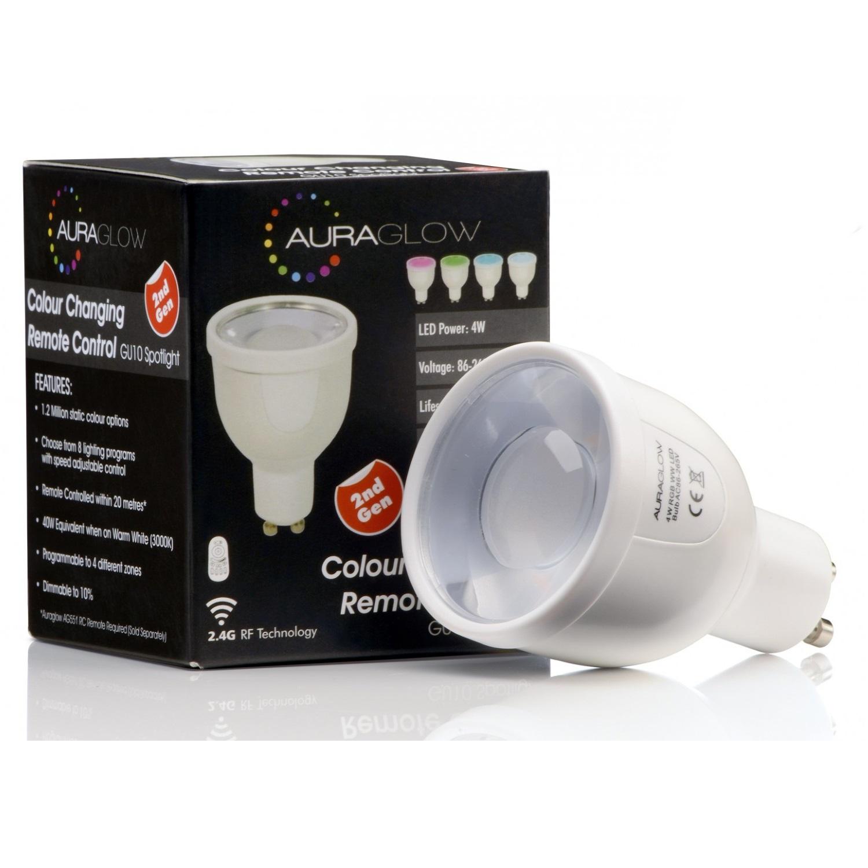 Auraglow 7w Remote Control Colour Changing Led Light Bulb: Auraglow 2.4GHz Remote Control RGB GU10 LED Light Bulb