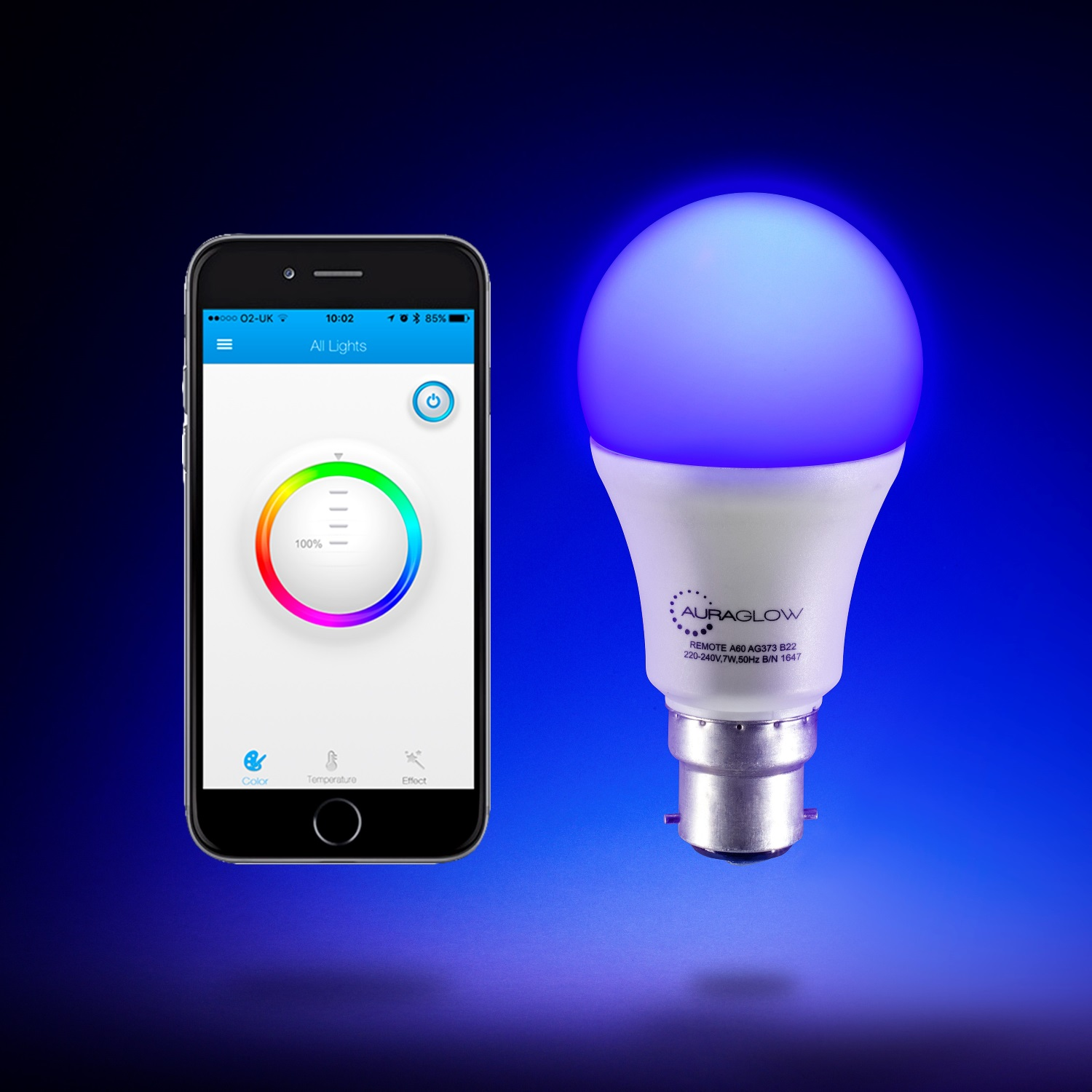 auraglow 9w bluetooth colour changing led smart light bulb. Black Bedroom Furniture Sets. Home Design Ideas