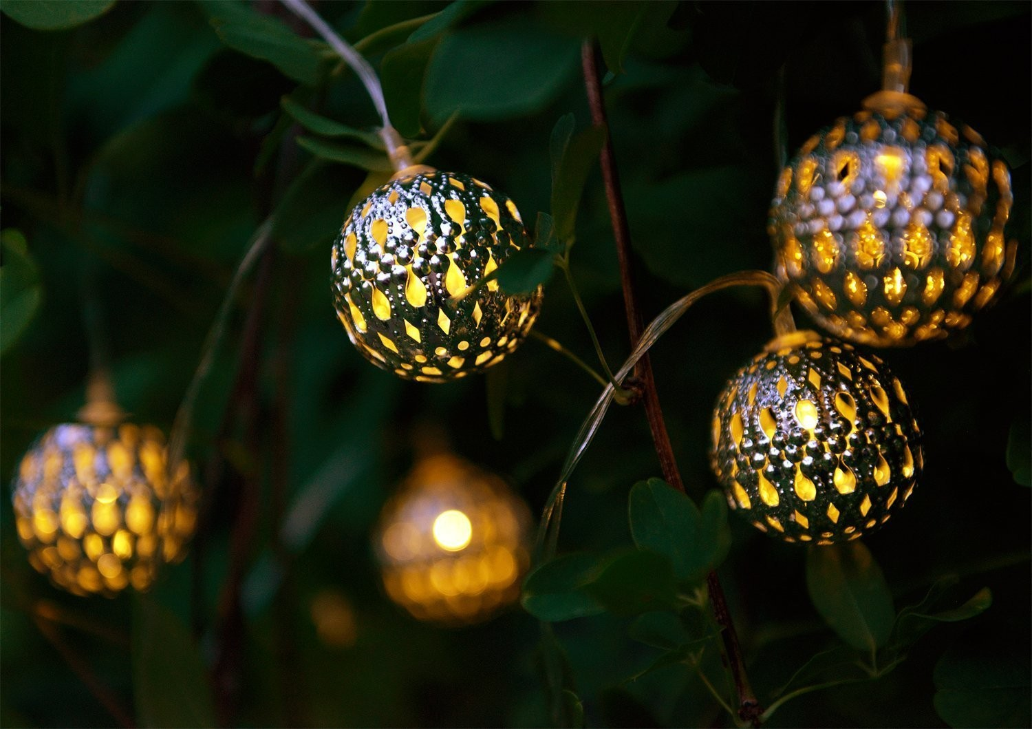 Exterior Solar String Lights : Set of 12 Moroccan Solar String Lights - Balls - Auraglow LED Lighting