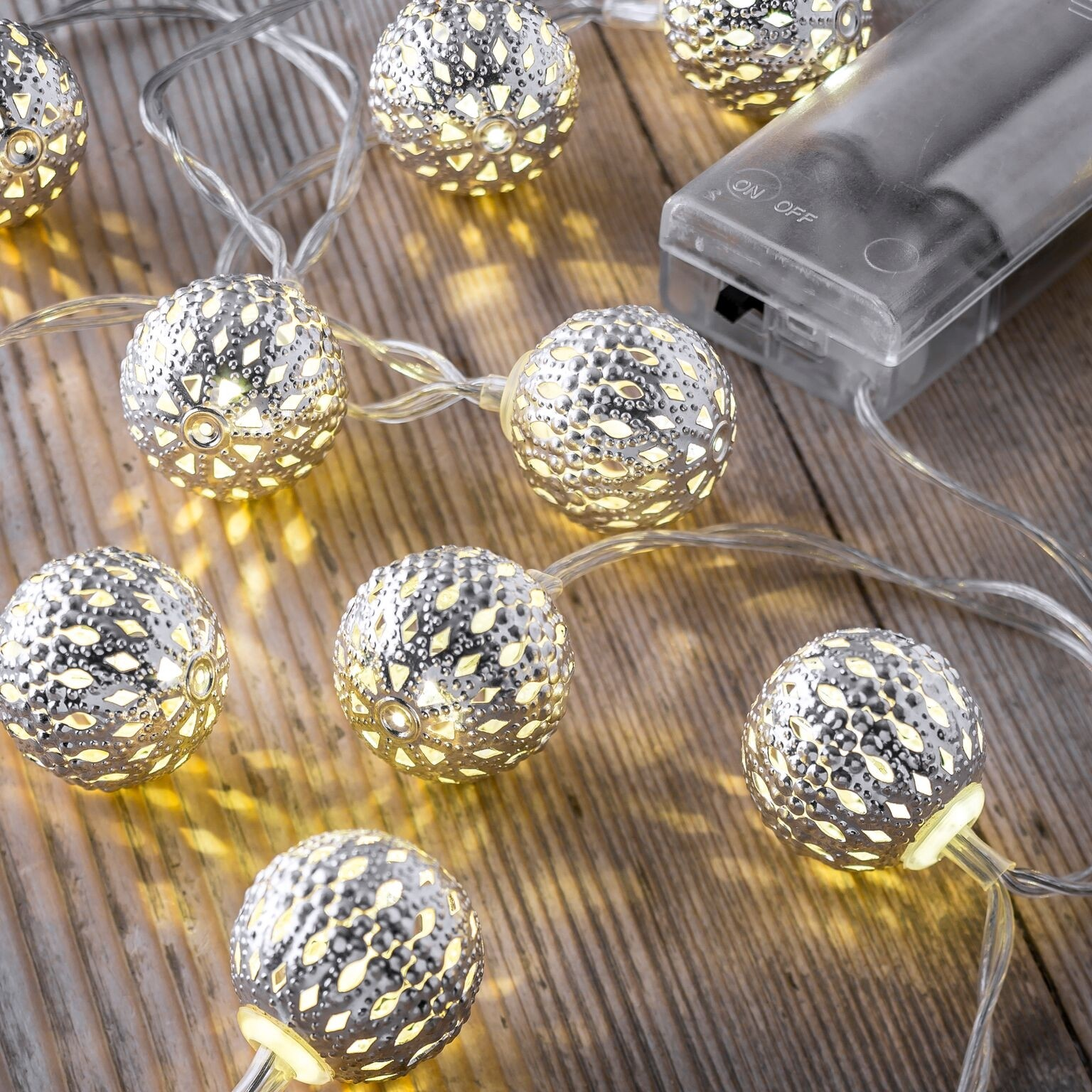 Set of 12 Battery Operated 2.5m Indoor String Lights - Mini Maroq Balls - Auraglow LED Lighting