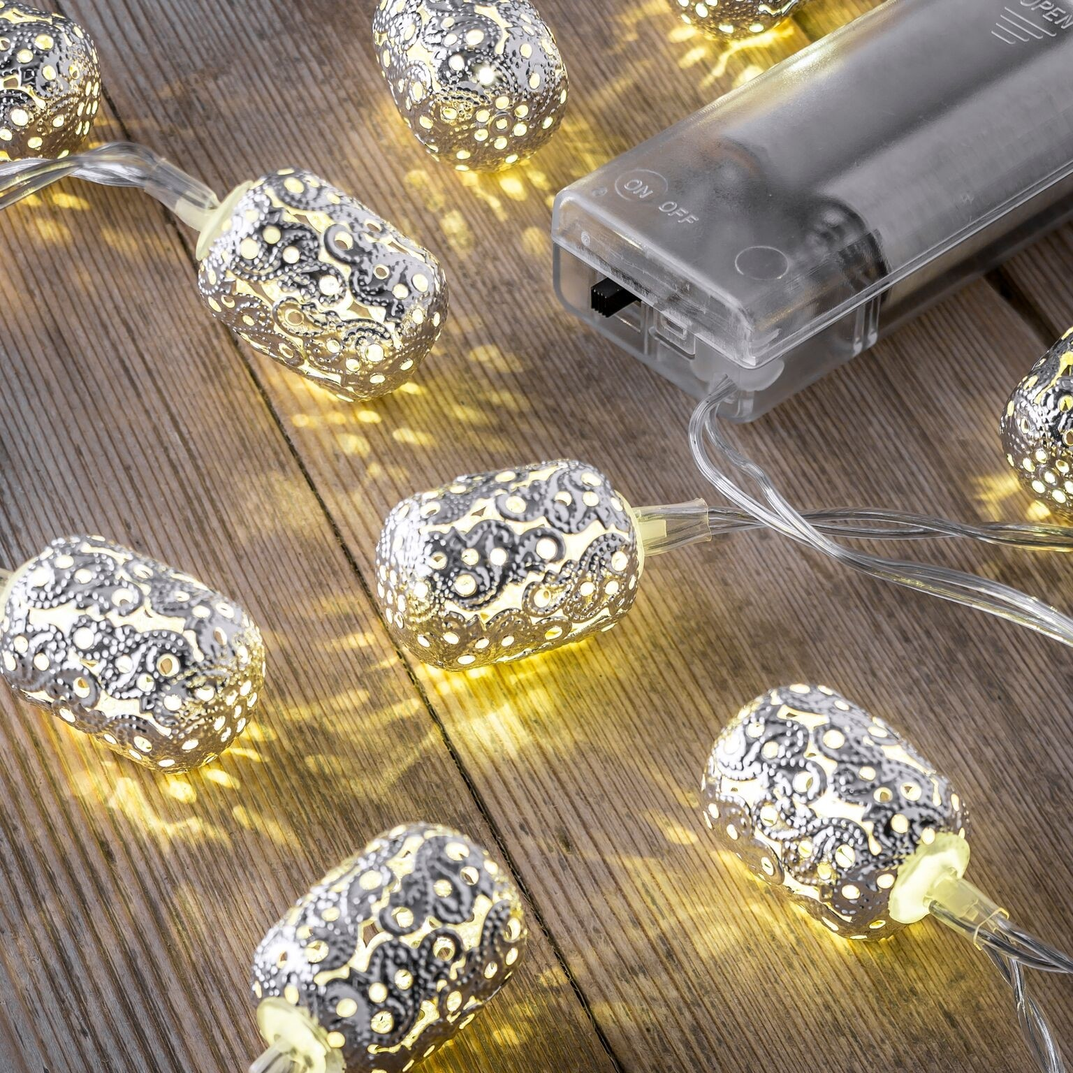 Battery String Lights Indoor : Set of 12 Battery Operated 2.5m Indoor String Lights - Ellipse - Auraglow LED Lighting