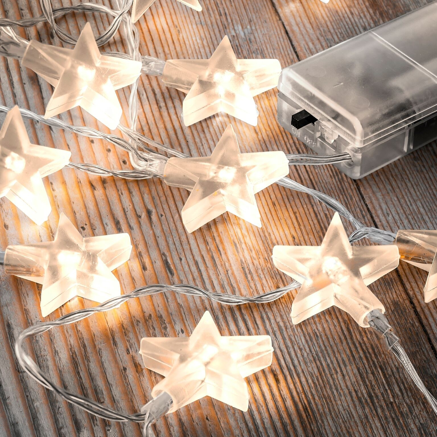 Set of 12 Battery Operated 2.5m Indoor String Lights - Clear Stars - Auraglow LED Lighting