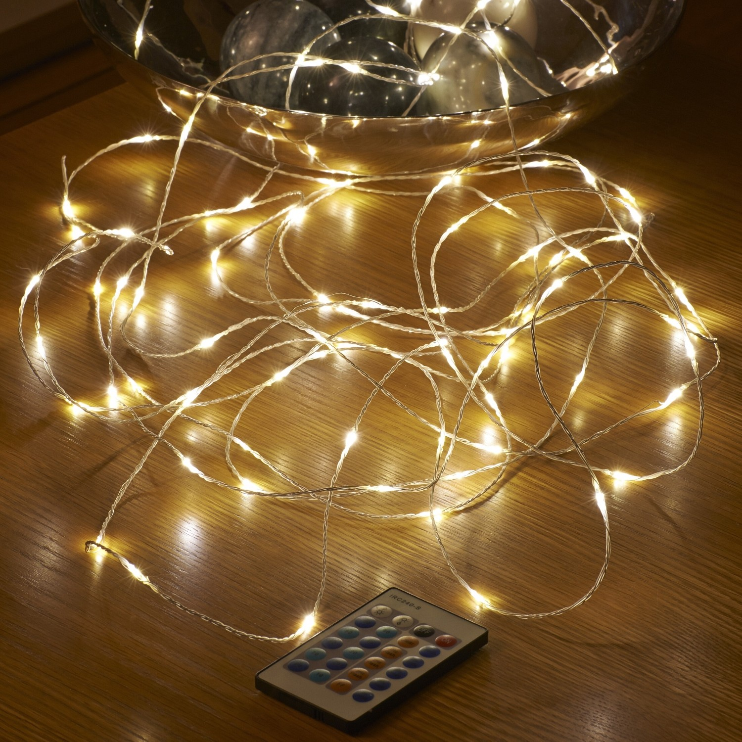 Mains String Garden Lights : Micro LED String Lights - Mains Powered - Remote Controlled - 10M - Auraglow LED Lighting
