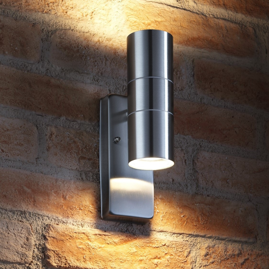 Auraglow dusk till dawn sensor up down outdoor wall light avebury stainless steel