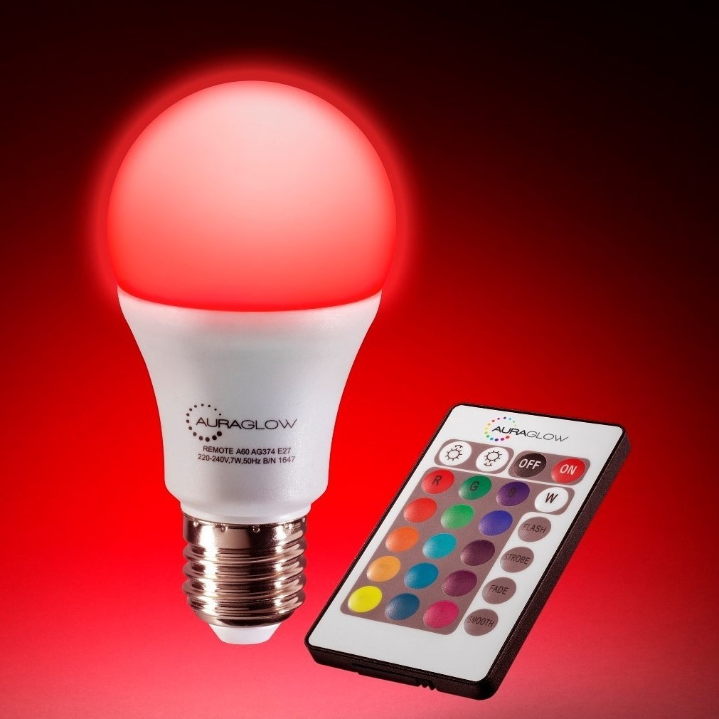 Auraglow 7w Remote Control Colour Changing Led Light Bulb E27
