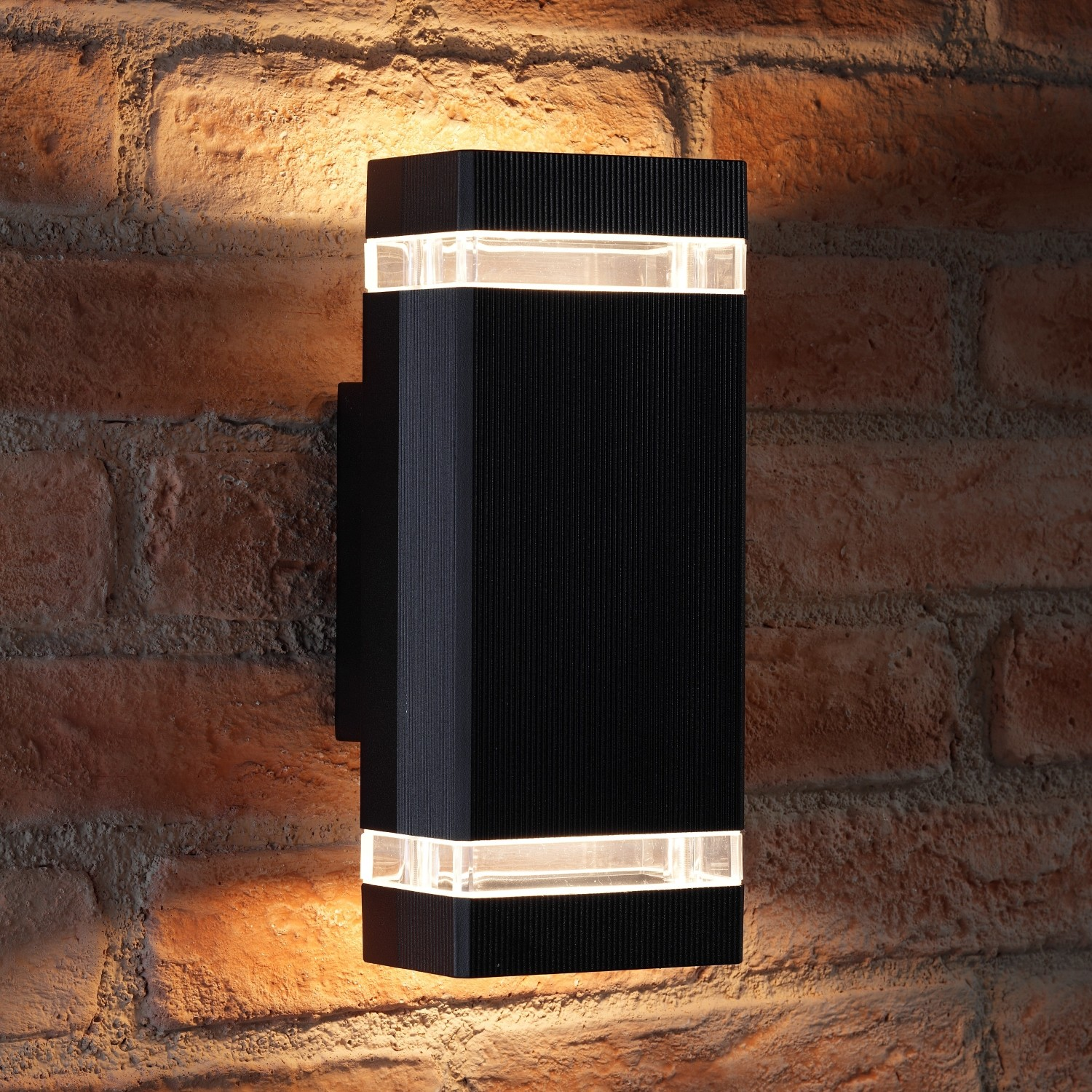 new arrival 21def f075b Auraglow Outdoor Double Up & Down Wall Light - CHILTON - Black