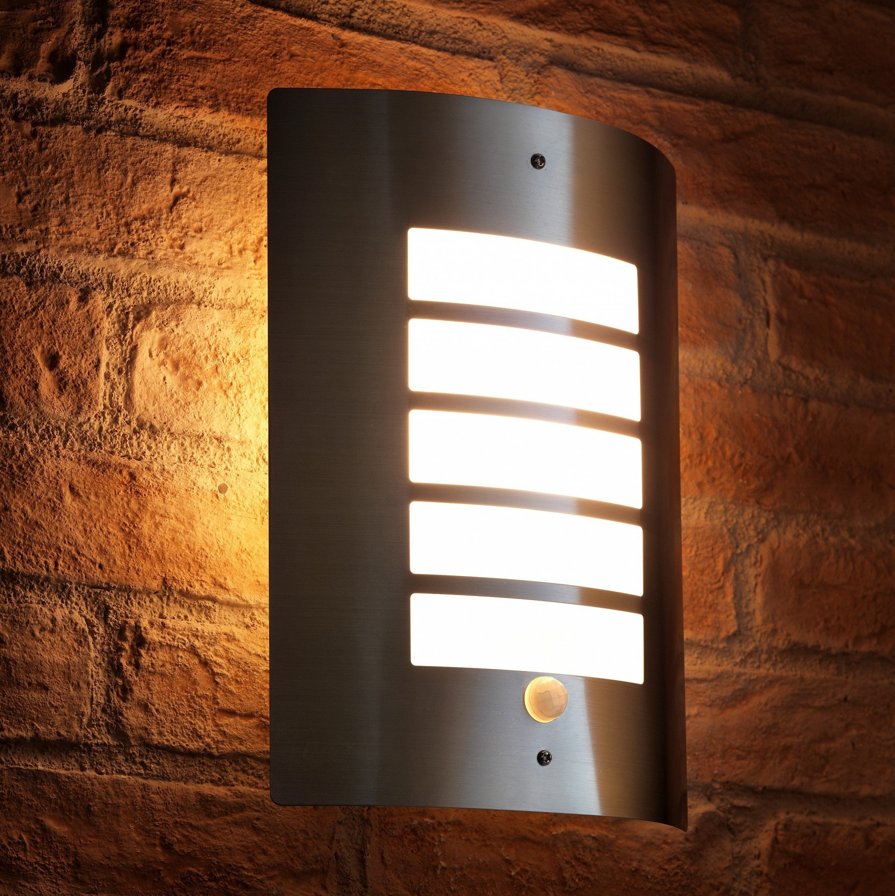 Auraglow dusk till dawn daylight pir motion detection sensor outdoor wall light stainless steel