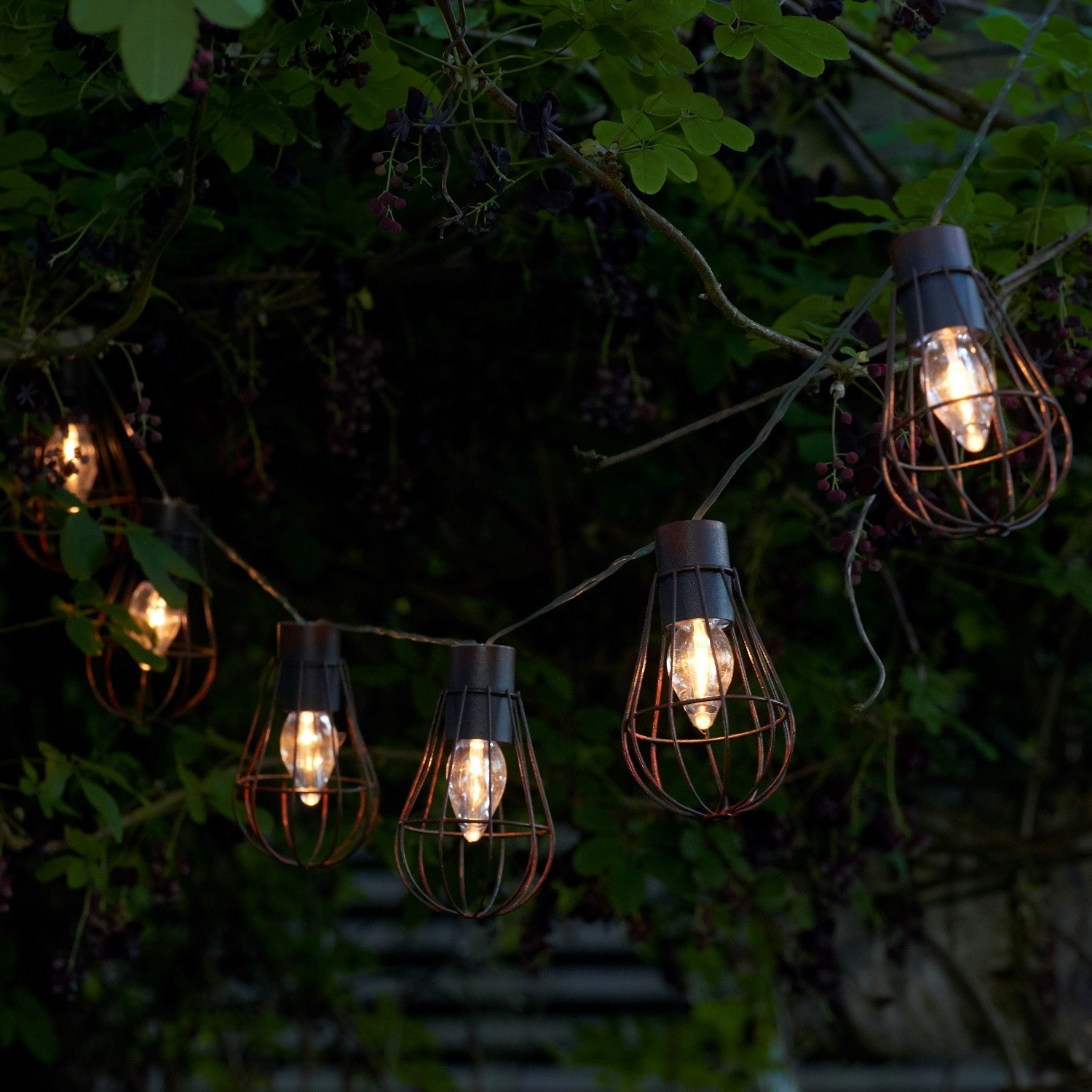Solar Metal String Lights : Set of 10 Rustic Metal Cage Solar String Lights - Auraglow LED Lighting