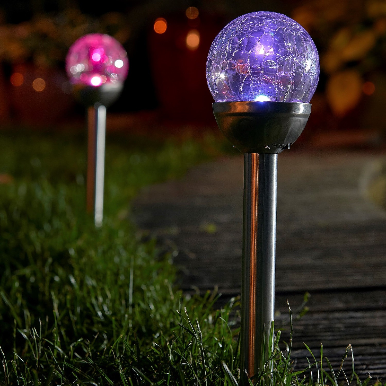 Set Of Colour Changing Solar Mosaic Garden Post Lights