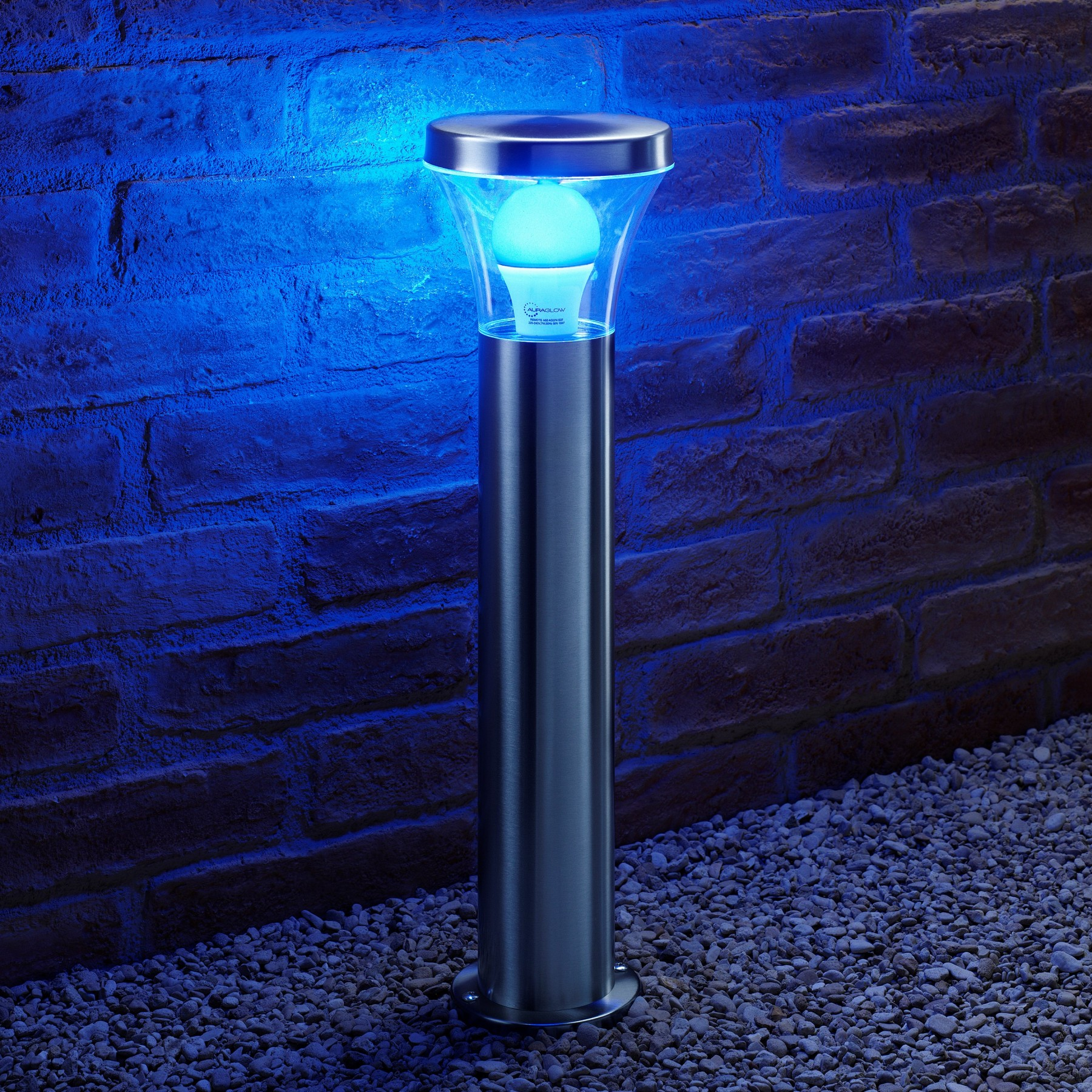 auraglow remote control colour changing stainless steel post light