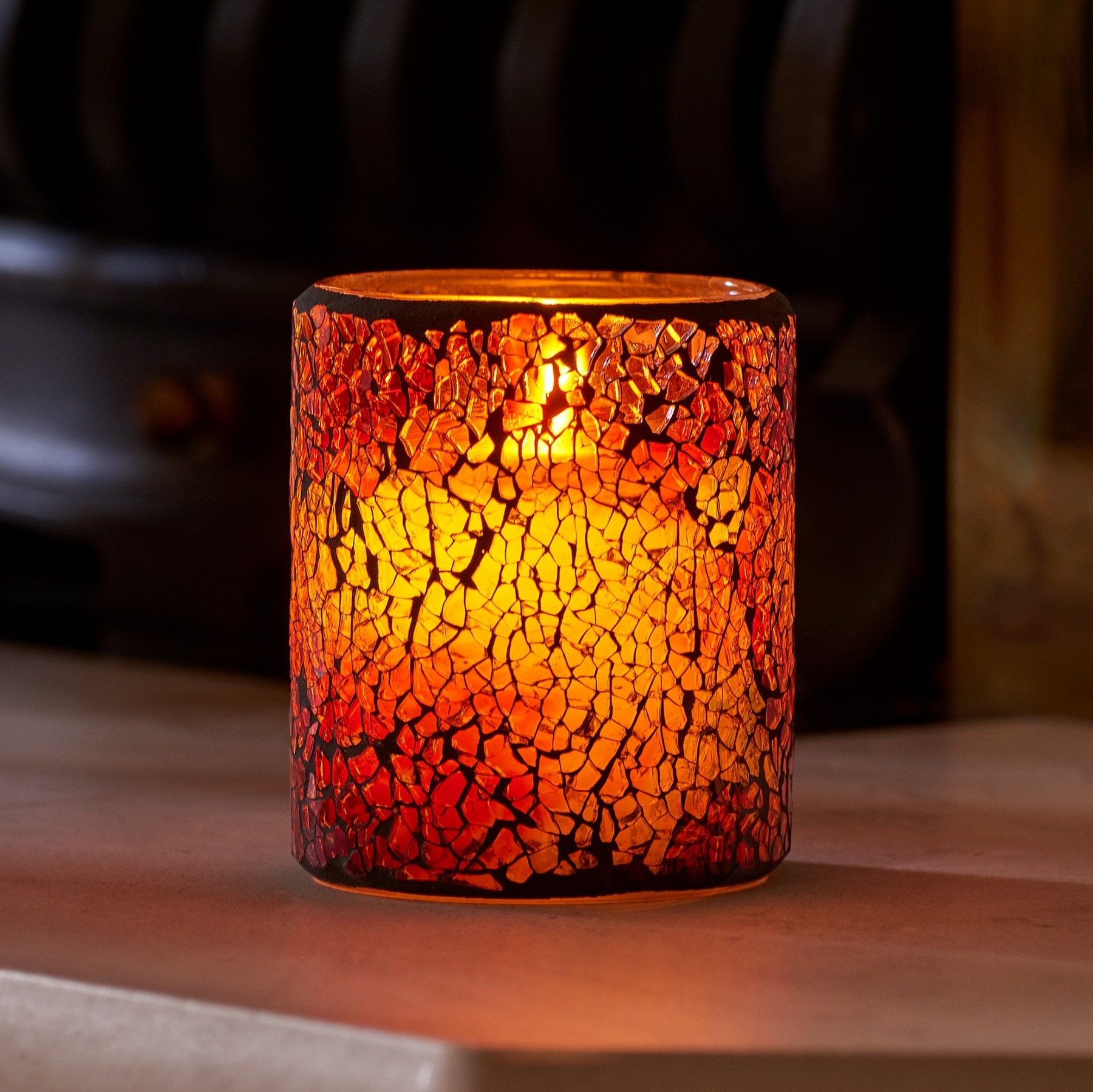 Auraglow Mosaic Glass Led Flameless Flickering Candle