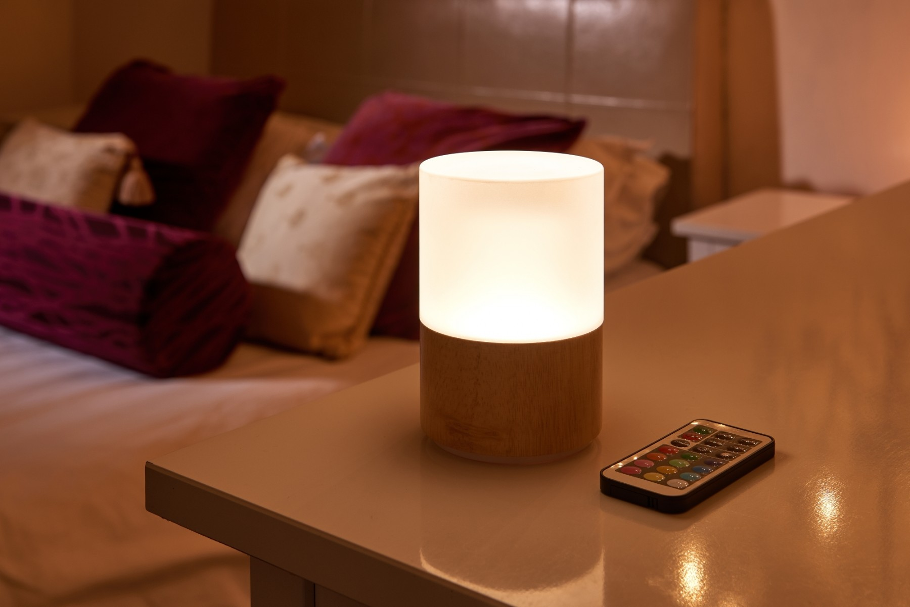 Picture of: Auraglow Rechargeable Cordless Colour Changing Led Table Lamp Wooden Auraglow Led Lighting