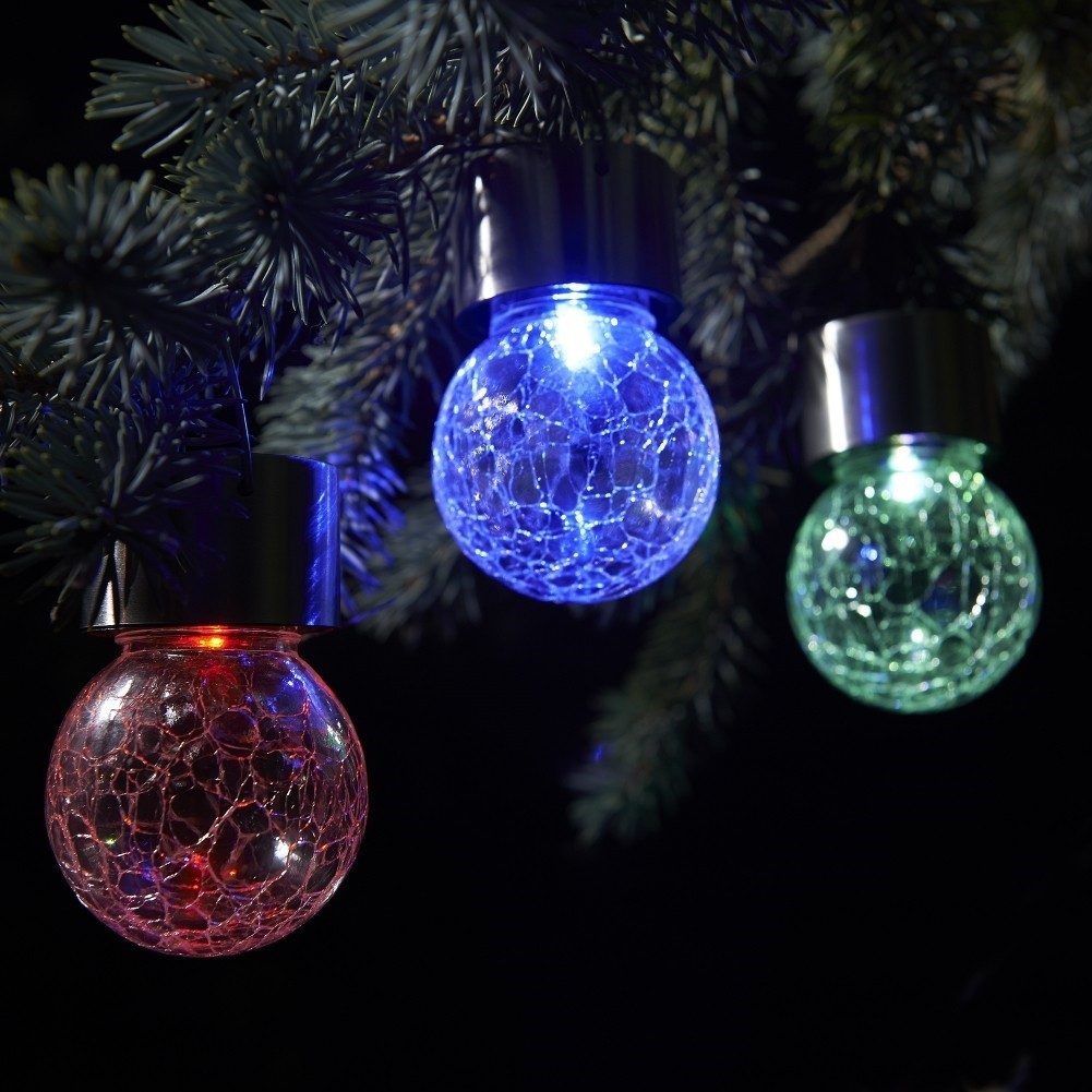 Set Of 3 Solar Hanging Crackle Globe Lights Colour