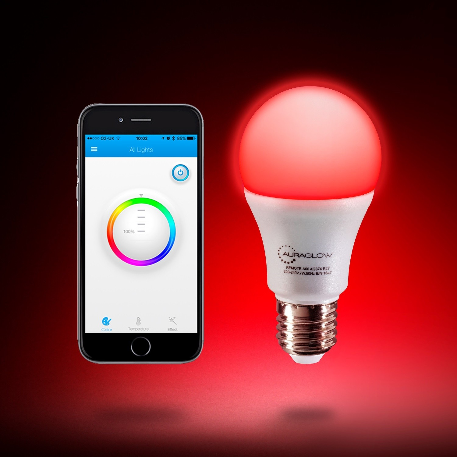 Auraglow 9w Bluetooth Colour Changing Led Smart Light Bulb