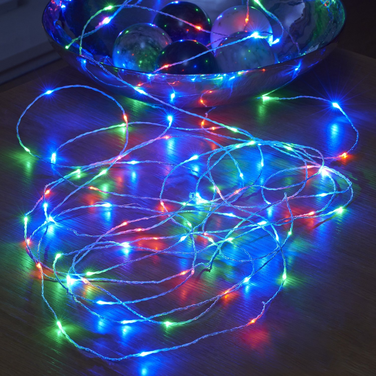 Micro LED String Lights - Battery Operated - Remote Controlled - Outdoor - RGB - 5M - Auraglow ...