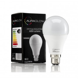 AURAGLOW 13w LED B22 Bayonet Light Bulb, Cool White, 75w Equivalent - 1055 Lumens - DIMMABLE 1