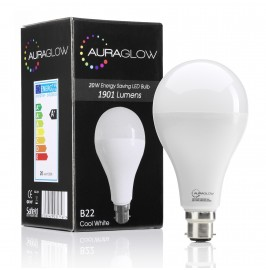 AURAGLOW Super Bright 20w LED B22 Bayonet Light Bulb, Cool White, 6500K -1901 Lumens - 120w EQV.1