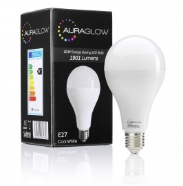 AURAGLOW Super Bright 20w LED E27 Screw Light Bulb, Cool White, 6500K -1901 Lumens - 120w EQV.1