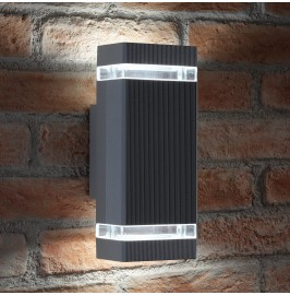 Auraglow Large Outdoor Double Up & Down Wall Light - Square - Grey - Cool White