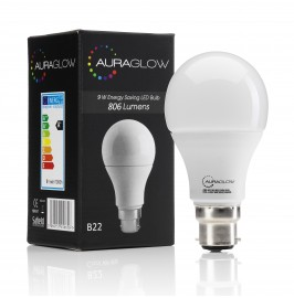 AURAGLOW 9w LED B22 Warm White - 60w EQV.1