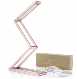 Auraglow Wireless Dimmable Desk Lamp USB Rechargeable Folding LED Reading Light - Rose Gold.1