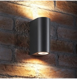 AURAGLOW 14W OUTDOOR DOUBLE UP & DOWN WALL LIGHT - WINDSOR - Black