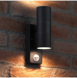 Auraglow PIR Motion Sensor Stainless Steel Up & Down Outdoor Wall Security Light - Warminster - BLACK