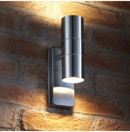 Auraglow PIR Motion Sensor Stainless Steel Security Lamp Up & Down Outdoor Wall Light - Warm white4.544