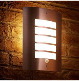 Auraglow Stainless Steel Energy Saving Motion Activated PIR Sensor Outdoor Security Wall Light - Copper Finish - Cool White …