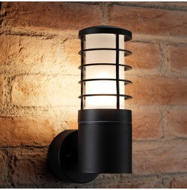 Auraglow 5w Indoor / Outdoor Garden Wall Light Weatherproof Lantern - Black - Cool White LED Bulbs Included
