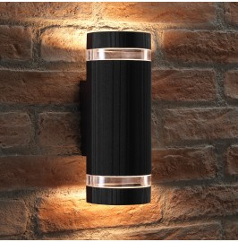 Auraglow Large Outdoor Double Up & Down Wall Light - ELTON - Black
