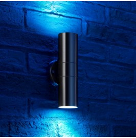 Wall lights auraglow led lighting auraglow stainless steel up down colour changing outdoor wall light aloadofball Image collections