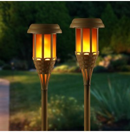 Auraglow Solar Bamboo LED Tiki Torch Garden Light