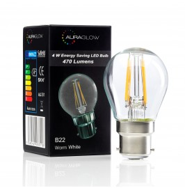 Auraglow 4w G45 Golf Ball Filament LED Vintage Light Bulb - B22 - WARM WHITE